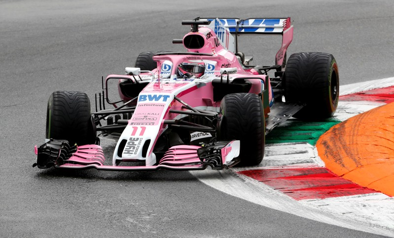 Motor racing: Perez leads the way with wet first practice at Monza